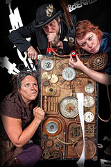 Likely Story - Broken Machine (One_Glass_Eye) Tags: clock wales fairytale time theatre stage machine story onceuponatime captain childrens production welsh alphabet engineer clocks navigator steampunk likelystory sfsa oneglasseye studiomoxy