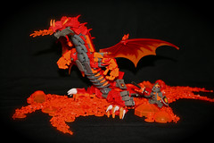 Lava Dragon (Siercon and Coral) Tags: castle fire volcano lava dragon lego salamander fantasy knight moc