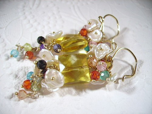 Yellow Quartz,mixed topaz, keishi pearls,vermeil, 14k gold filled Earrings by OBTP-Jewelry