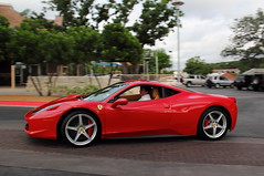 Ferrari 458 Italia (agup627) Tags: red italy motion wheel club america austin movement italian italia texas action tx side ferrari panning rosso corsa caliper 458 rossocorsa ferrariclubofamerica redcaliper fcabreakfast