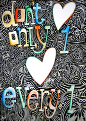 poster art (atelier renskeherder) Tags: white black eye art love tattoo pen paper happy one pattern peace heart quote text hippy curls tribal dot every dont quotes indie only marker everyone curl phrase dots henna flowerpower hartje spontanious
