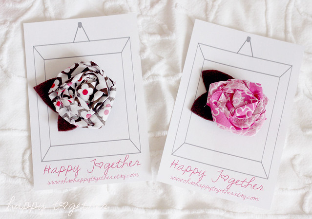 Fabric Rosette Hair Clips