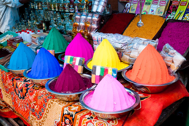 Pigments at Devaraja Market in Mysore