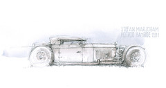 Mark Brazier Jones creation (Stefan Marjoram) Tags: car pencil vintage sketch drawing watercolour hotrod hayride dragster urbansketches