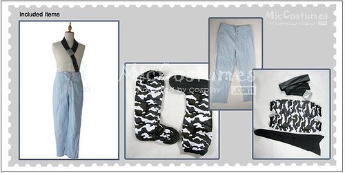 Naruto light blue Momochi Zabuza cosplay costume detail