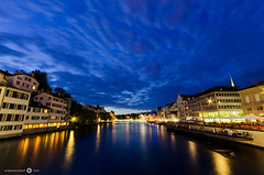 Blue Clouds over Zurich (andreaskoeberl) Tags: city longexposure blue night clouds reflections river lights switzerland lowlight nikon zurich bluehour 1020 limmat sigma1020 d7000 nikond7000 andreaskoeberl