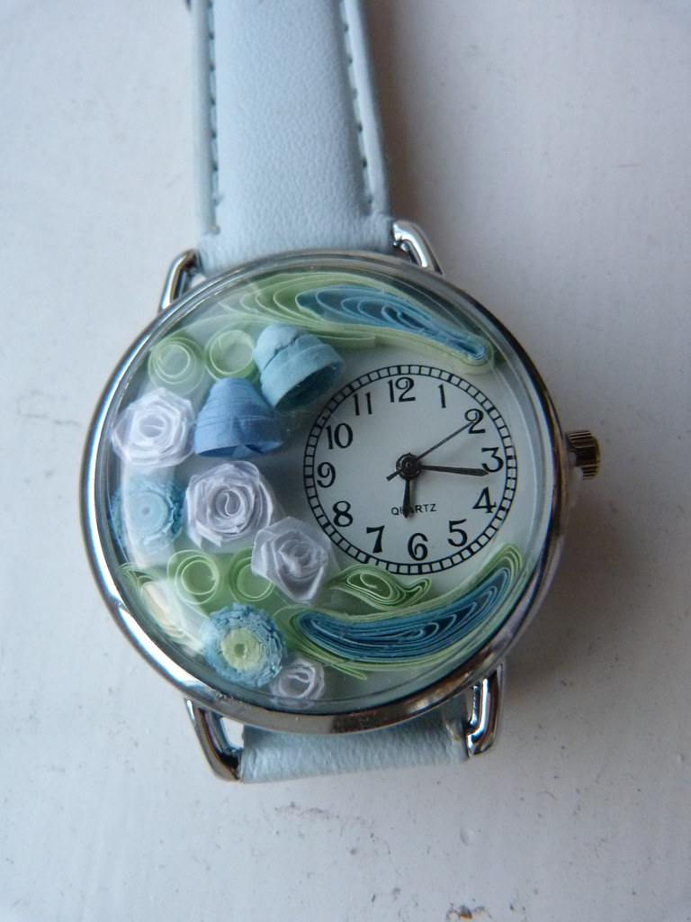 Blue white flower watch
