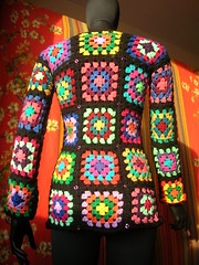 Granny Square Cardigan With Sequins (babukatorium) Tags: pink blue red orange brown black color green art lana wool fashion yellow vintage square sweater funny colorful warm purple handmade mosaic turquoise teal burgundy oneofakind coat crochet moda violet style retro hippie patchwork psychedelic sequins cardigan bohemian multicolor whimsical darkblue mintgreen maglia sequin haken hkeln emeraldgreen croch grannysquares ganchillo babypink fuxia uncinetto fattoamano  tii horgolt babukatorium
