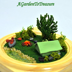 Let's Go Camping (Purple Moon Designs) Tags: camping garden miniature woods kayak treasure handmade oneofakind ooak scene tent polymerclay campfire to etsy diorama campsite madebyhand a uniquegift agardentotreasure