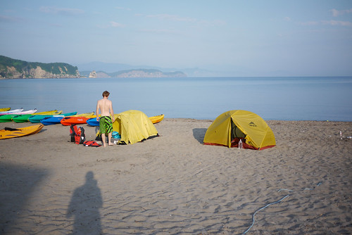Camping on beach in front of Blue Holic Kayaks in Bikuni near Otaru, Hokkaido, Japan
