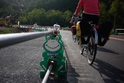 Cycling up Nakayama Pass, Hokkaido, Japan