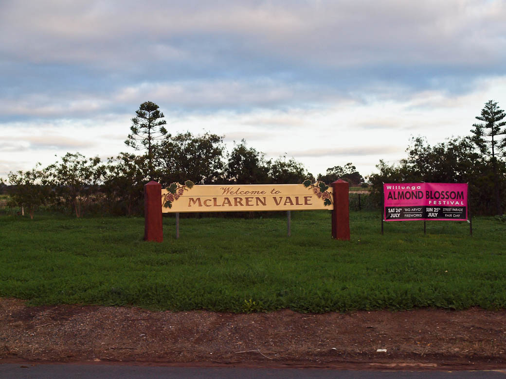 Welcome to McLaren Vale, Adelaide sign
