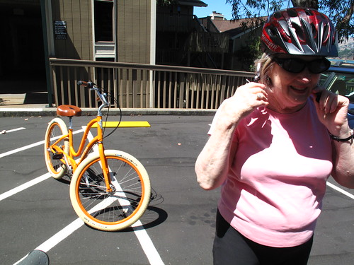mom and her orange bike