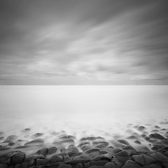 Rock, Sea & Sky (Weeman76) Tags: uk longexposure sea bw seascape west monochrome mono nikon south somerset minimal le minimalist limestonepavement d90 kilve sigma1020mmf456exdchsm nd110 niksoft silverefexpro2