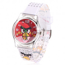 Lovely Big Round Dial Rubber wrist band Wrist Watch With Red Angry Bird for Kids
