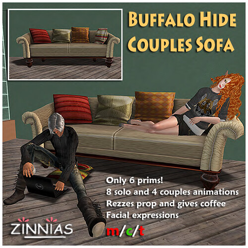 50% Sale on the Buffalo Hide sofa @ Zinnias