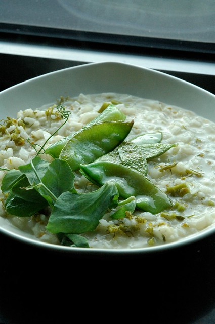 Spring vegetables based risotto with roquefort cheese