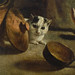 Antoine or Louis Le Nain, Peasant Family in an Interior, detail of cat