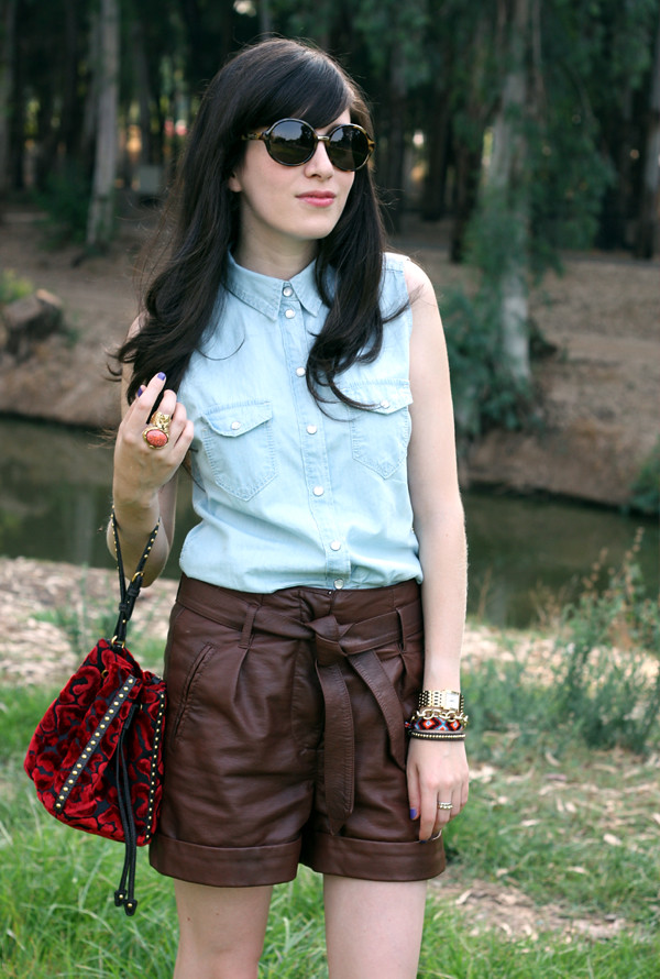 denim_blouse_leather_shorts1