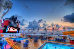 Disney Dream - All Hands On Deck (Joseph Vernuccio) Tags: ocean pool sunrise dream mickeymouse waterslide nassau hdr disneycruiseline photomatix deck12 nikond700 nikkor1424mmf28g disneydream hdr7raw