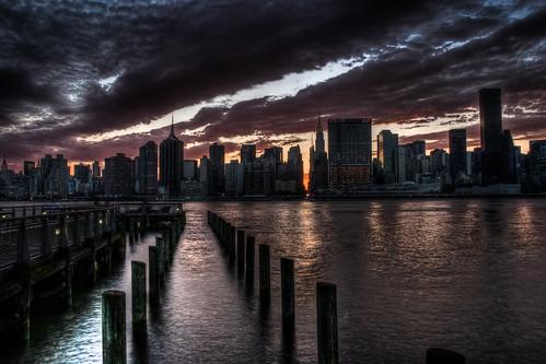 フリー写真素材|建築・建造物|都市・街・村|夕日・夕焼け・日没|川・河川|アメリカ合衆国|ニューヨーク|