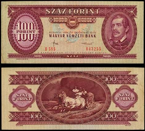 100 Forintov Maďarsko 1984, Pick 171g