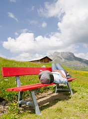 Alpine Relaxing - [EXPLORED] (andreaskoeberl) Tags: mountains alps colors girl clouds bench austria nikon lech vorarlberg arlberg mountainpasture 1685 zuers d7000 nikon1685 nikond7000 andreaskoeberl