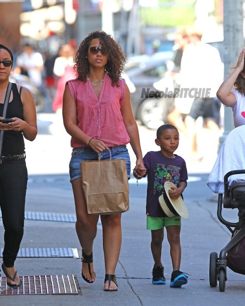 Alicia Keys takes a walk with her son, Egypt and stepson, Kassem Dean Jr. in SoHo, NYC