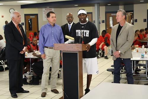 Pro Football Hall of Famer Deion Sanders promotes the Summer Food Service Program at Duncanville High School.