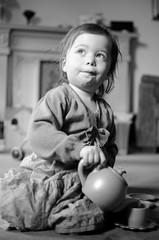 16/07/11 - Tea Mummy? (Bond Girly) Tags: portrait bw girl 35mm toddler amy tea teapot pouring grandmas
