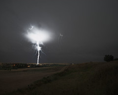 Ground Strike in Friant, CA  June 5, 2011 (Robert Pearce Photography) Tags: california storm rain june night clouds landscape bolt thunderstorm lightning 2011 friant nikond200 groundstrike therebeastormabrewin robertpearce californiathunderstorms robertpearcephotography