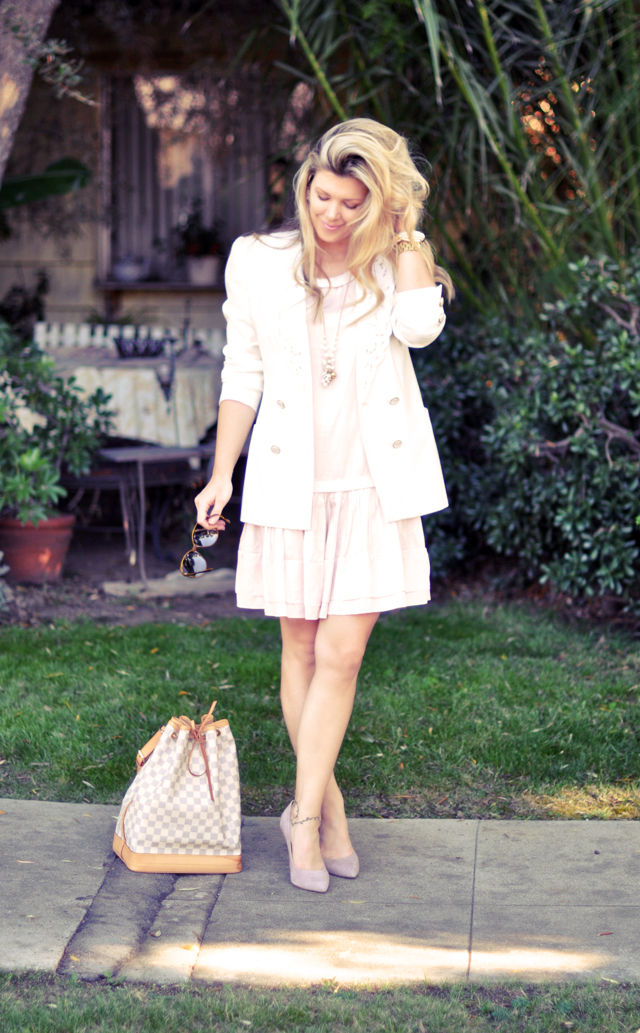 light pink dress with white blazer       and pink pumps