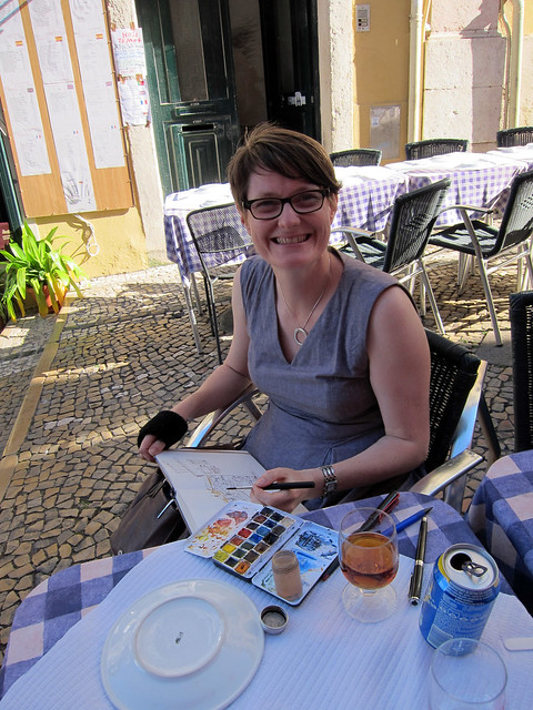 Liz Steel sketching in Lisbon