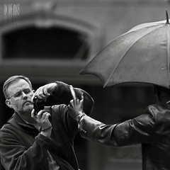One On One (Ian Sane) Tags: street sculpture white man black me oregon umbrella square portland ian photography one j downtown photographer candid broadway johnson courthouse avenue morrison pioneer seward allow 6th yamhill sane on