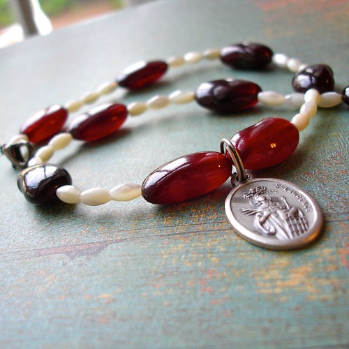 Red Beans & Rice Necklace with St. Lawrence pendant