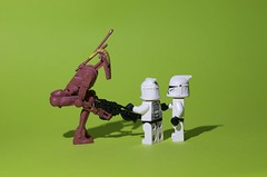 Watch out for the candy man (Kalexanderson) Tags: stilllife trooper toys starwars lego rifle son troopers stormtrooper fatherandson clone showing droid greenscreen candyman clon clonewars familylife clonetrooper ordinarylife stormtrooperandson