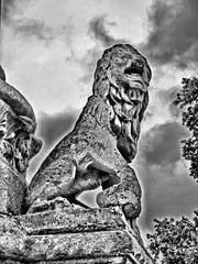 Lion at the base of the Westminster School Crimean War Memorial (Steve Taylor (Photography)) Tags: uk england bw white black london westminster statue vintage memorial britain lion londres gb column crimeanwar westminsterschool