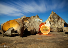 Ball of Light - Turning Point? (biskitboy) Tags: lighting longexposure light lightpainting color stone canon ball circle eos globe bright orb balls australia led sphere round paintingwithlight 5d sa orbs southaustralia circular kangarooisland lightart balloflight canonslr remarkablerocks lightball lapp lightjunkies 5dmkii 5dmk2