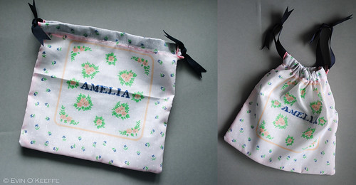 Upcycled Ladies Handkerchief Drawstring Bag