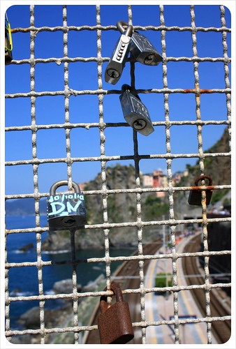 Locks with Manarola in the background