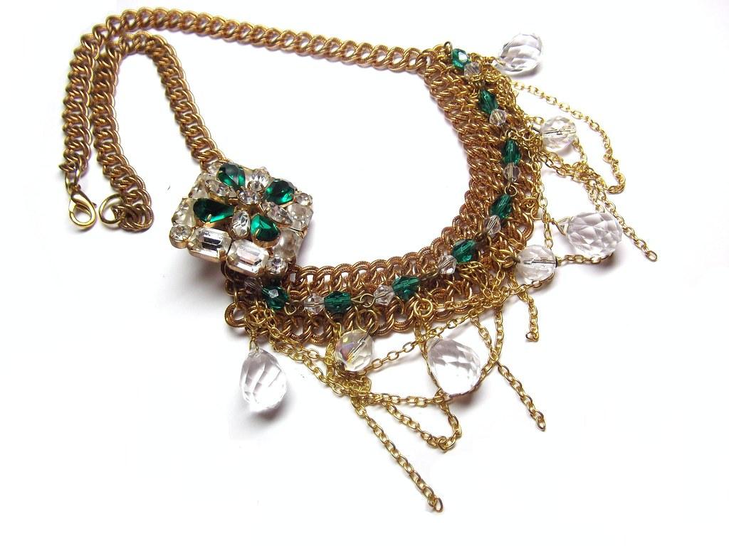 Vintage Rhinestone Brooch Choker Necklace
