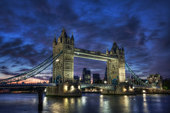 Tower Bridge Blue Hour (TheFella) Tags: canon eos 5d markii 5dmarkii photograph photo slr dslr digital processing postprocessing photomatix hdr highdynamicrange high dynamic range photoshop slowshutter longexposure europe uk unitedkingdom london capital gb greatbritain england shadthames tower bridge towerbridge river thames riverthames sunset bluehour sky pink blue lavender water thecity cityoflondon tower42 thegherkin bermondsey landmark londonlandmark reflections bascule suspension londonbridge