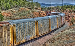 BNSF 7300 East 2 (ChasingSteel.com) Tags: railroad arizona train vehicle hdr bnsf 7300 7476 gees44dc transcon seligmansubdivision chasingsteelcom westdoublea