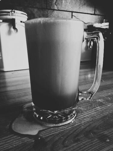 iced latte, b&w