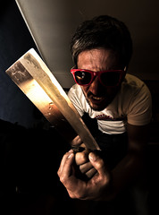 Psycho Killer (Matteo Allegro [www.matteoallegro.com]) Tags: deleteme5 deleteme8 portrait people deleteme deleteme2 deleteme3 deleteme4 deleteme6 deleteme9 deleteme7 halloween sunglasses canon reflections comics lens fun eos crazy cool scary funny noir angle deleteme10 flash wide young knife dramatic evil surreal sigma indoor psycho killer 7d stupid mad drama deleteme11 serial thriller omicide deleteme12 816 deleteme13 strobist colorphotoaward comicsstyle