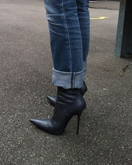 visit to friends - Rosina in grey GML boots (Rosina's Heels) Tags: boot high heel stiletto