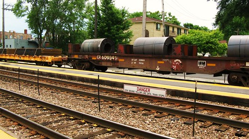 A former Conrail coiled steel car in transit.  River Grove Illinois USA. Sunday, July 24th, 2011. by Eddie from Chicago