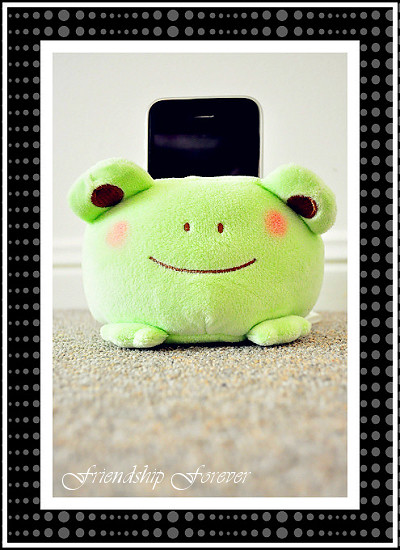 Cute Tofu Plush Mobile Phone Protect Holder Seat Stand