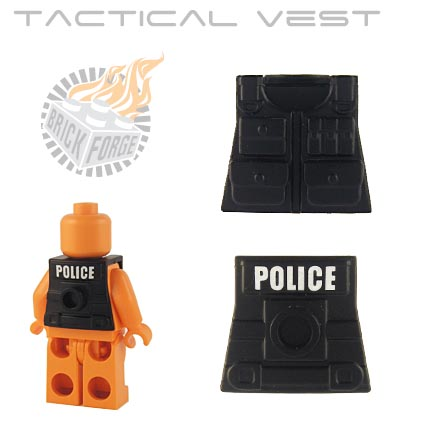 Tactical Vest - Black (white POLICE print)