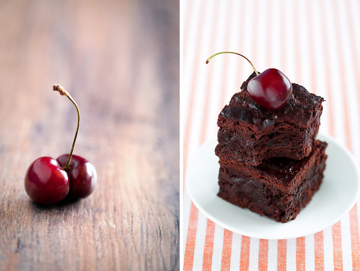 Brownies with cherry and chili